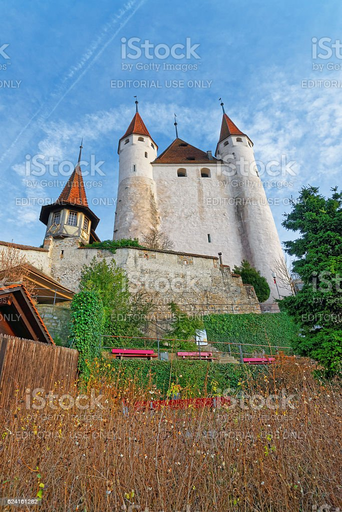 View on Thun Castle at stone stairs in Switzerland stock photo