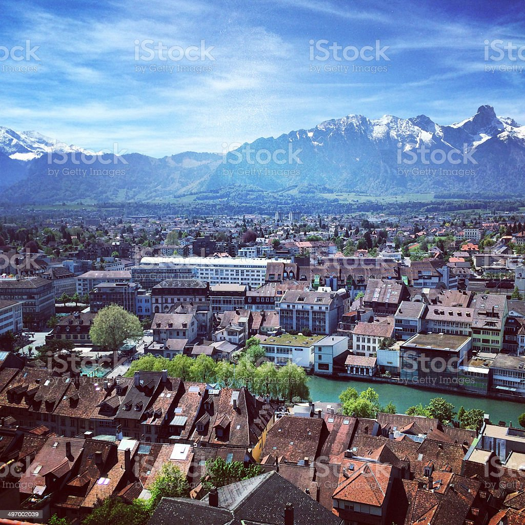View on Thun, Switzerland stock photo