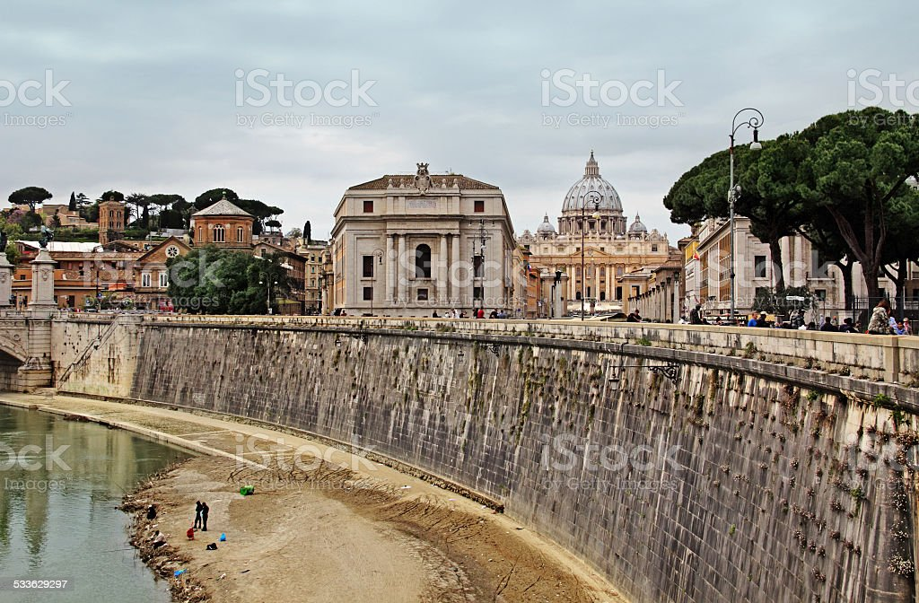 view on Tiber and St Peter Basilica stock photo