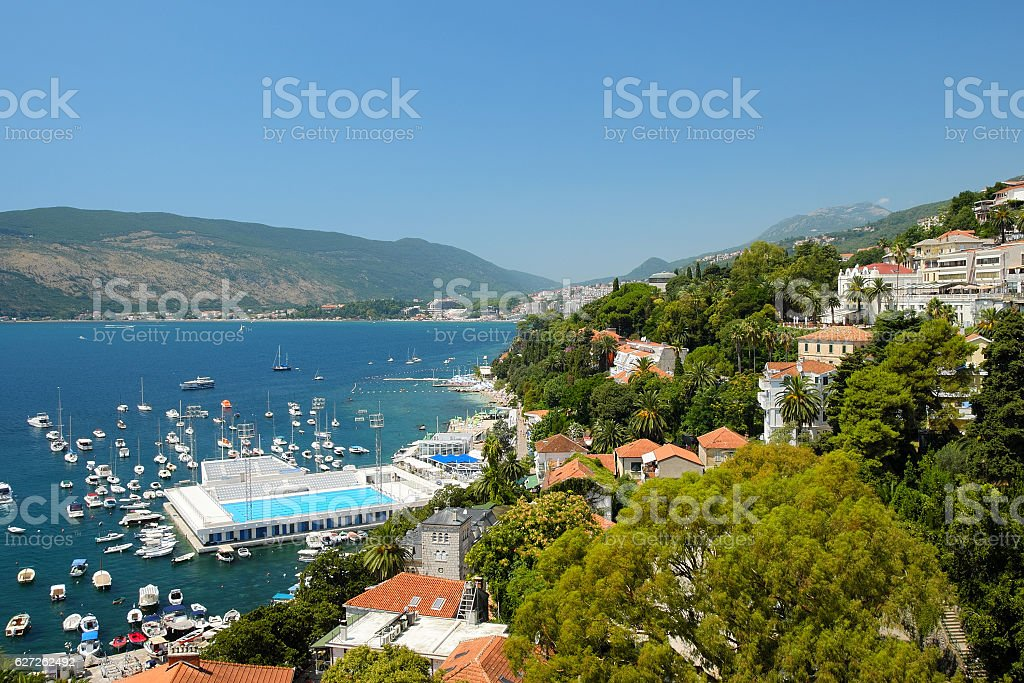 View on towns Herceg Novi and Igalo, Kotor Bay, Montenegro stock photo