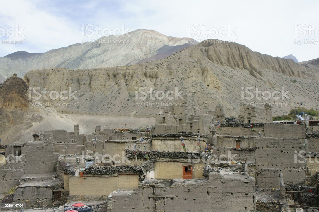 view on traditional part of Kagbeni village area, Upper Mustang, stock photo