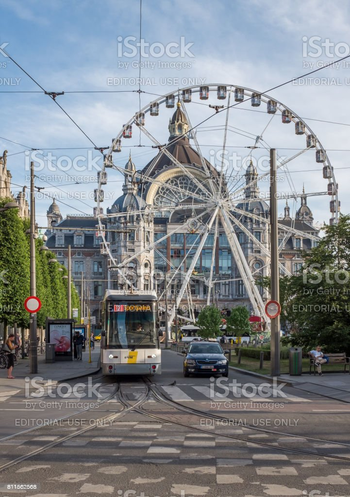 View on tram in front of Antwerp Central Railway Station stock photo
