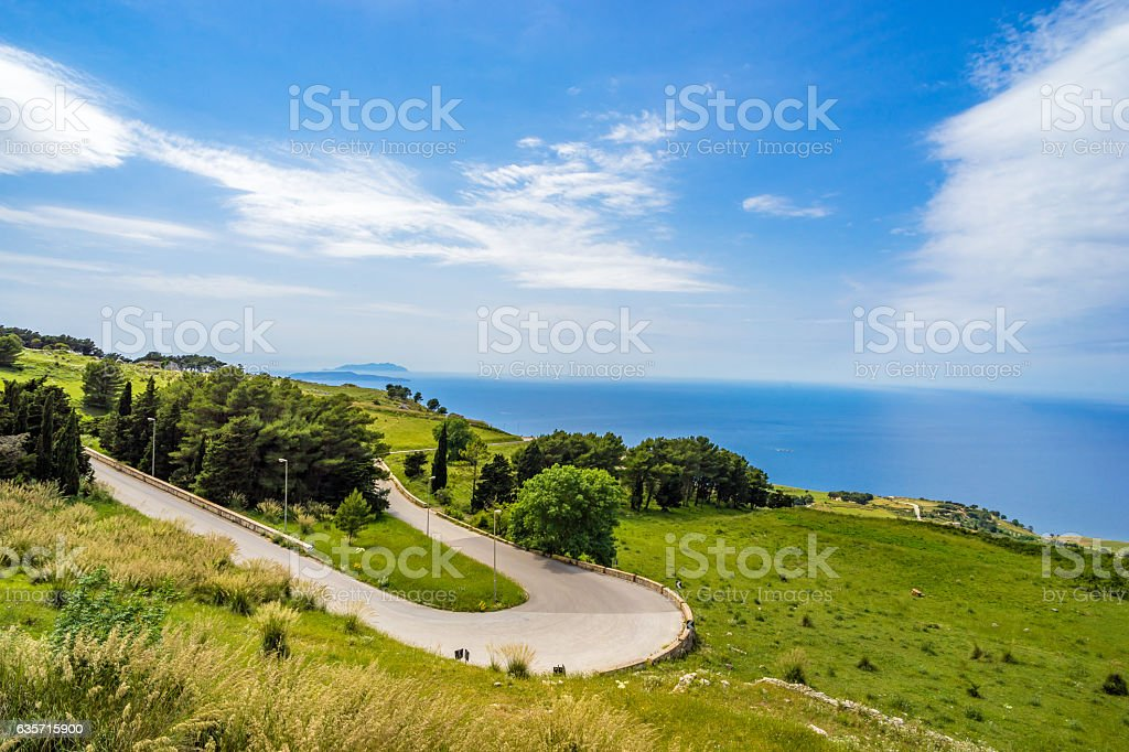 View on Trapani and Isola di Levanzo from Erice hills stock photo