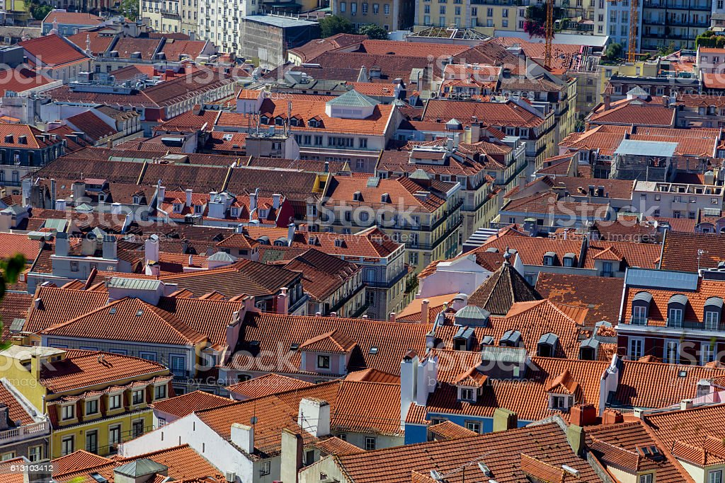 view on travel Lisbon from castle sao jorge stock photo