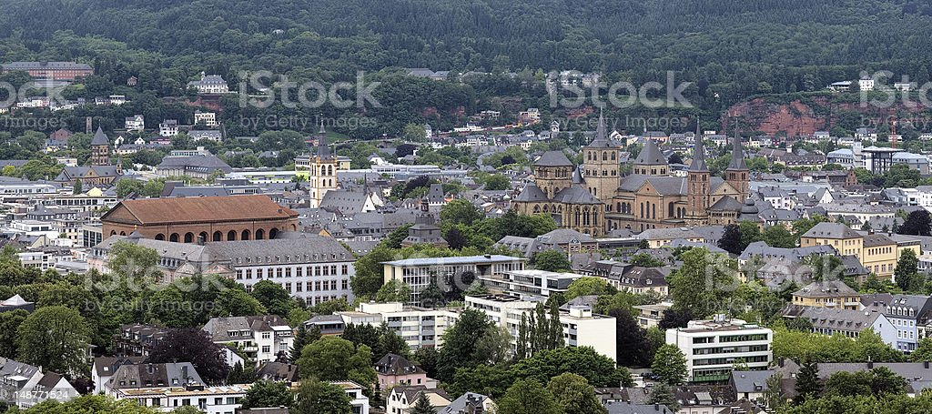 View on Trier from Petrisberg Mount, Germany stock photo
