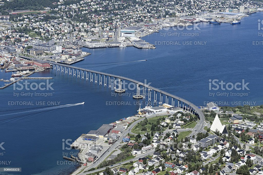 View on Tromso with bridge and ice cathedral stock photo