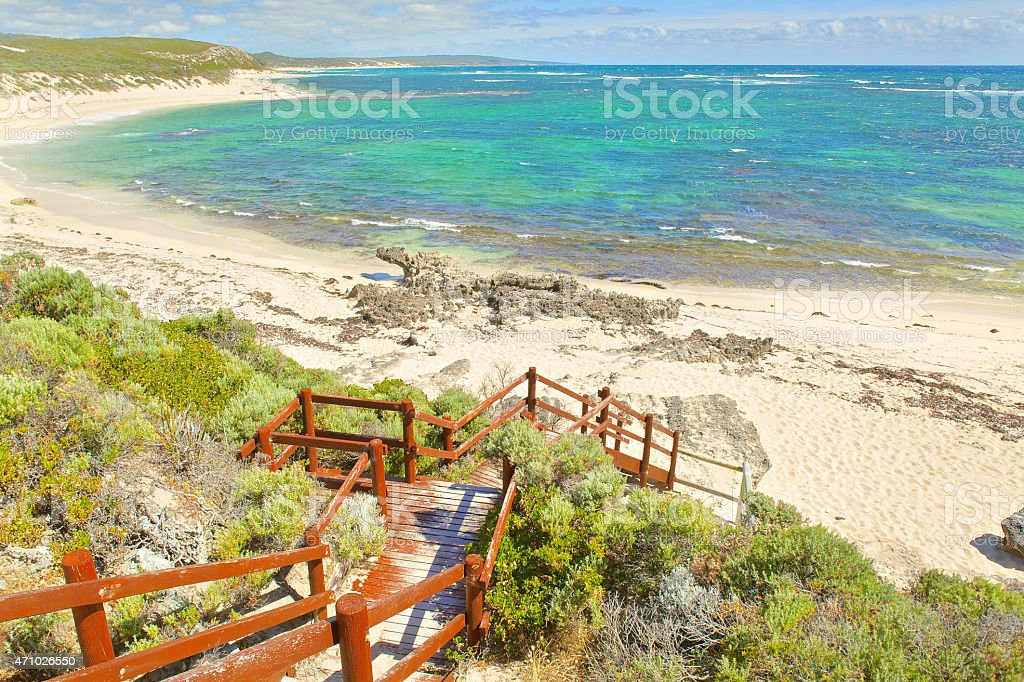 View on tropical beach and ocean in sunny day stock photo