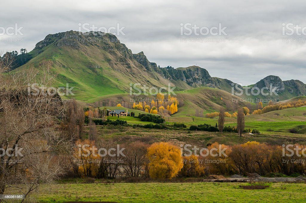 View on Tukituki River Valley and Te Mata peak stock photo