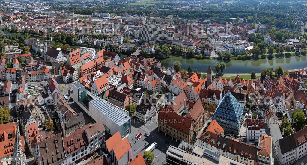 View on Ulm from the tower of Ulm Minster, Germany stock photo