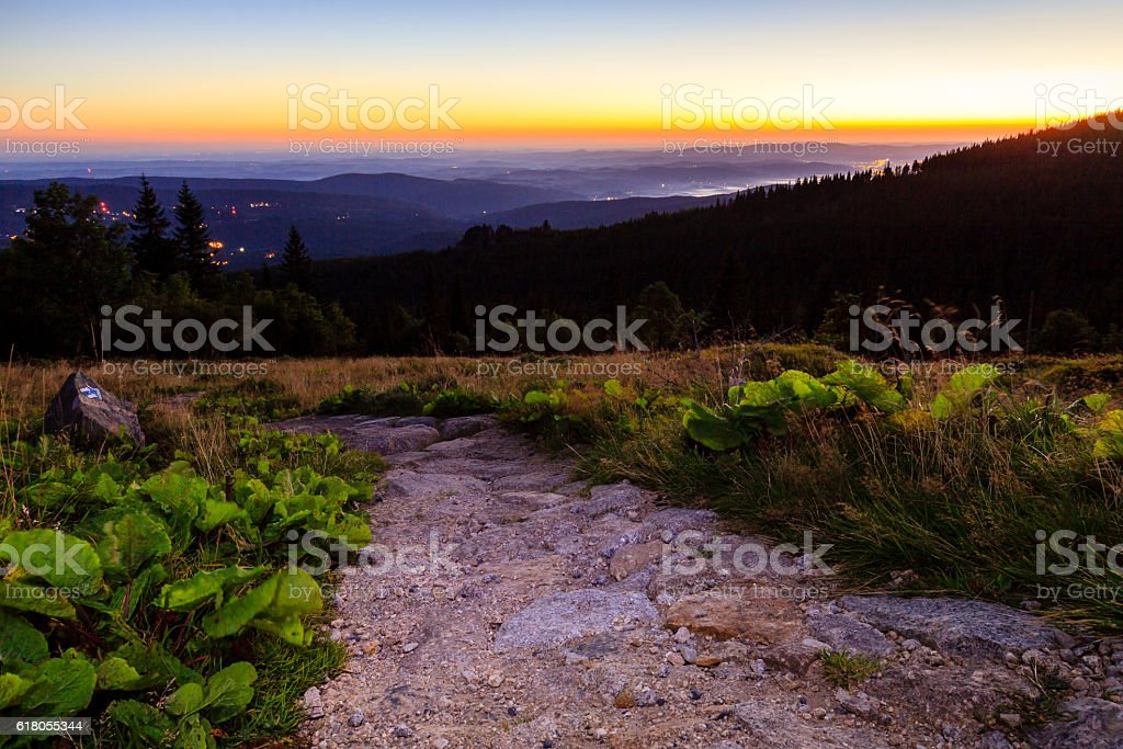 View on valley in Sudety Mountains, Poland. stock photo