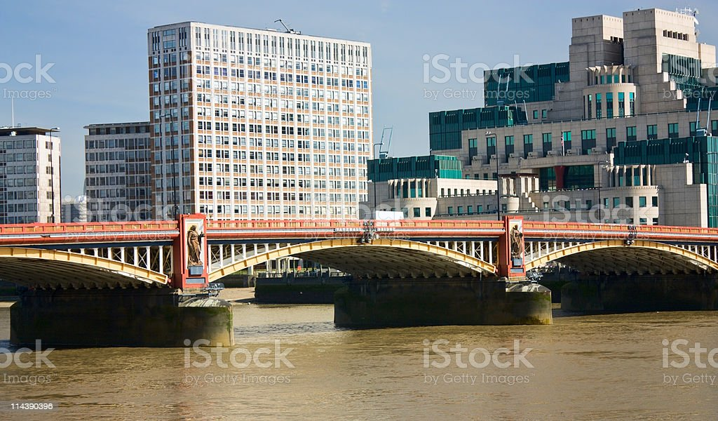 View on Vauxhall Bridge and SIS Building, London stock photo