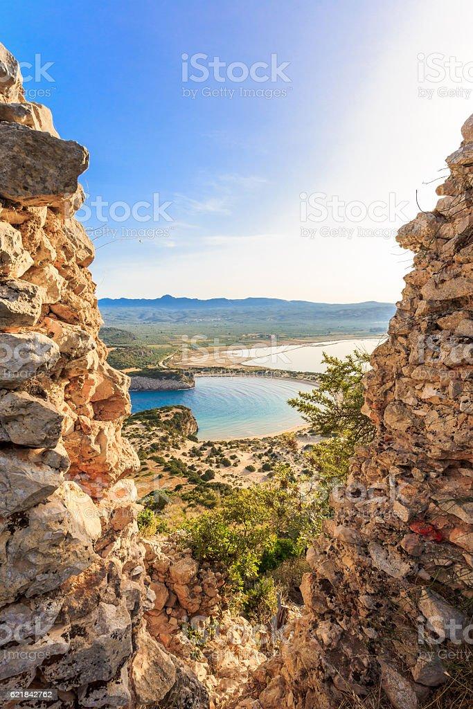 view on Voidokilia beach from Paleokastro fortress stock photo