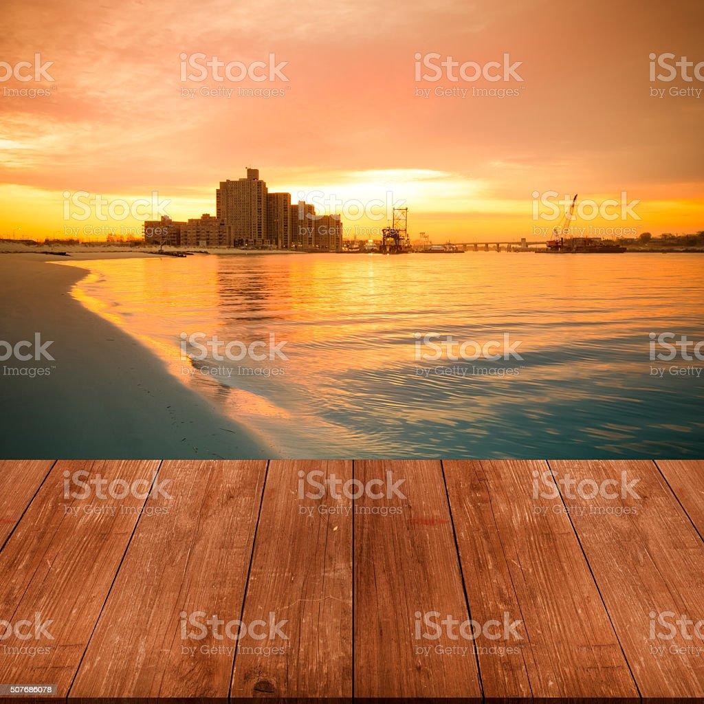 View on warm sunrise on the coast stock photo