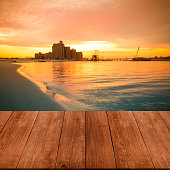 View on warm sunrise on the coast