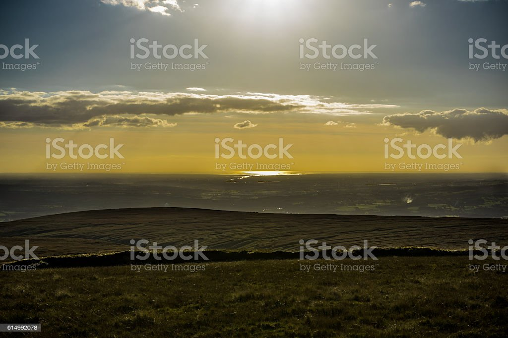 View on West From Pendle Hill stock photo