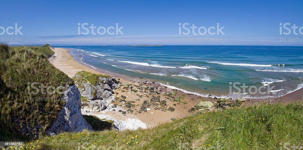View on White Rocks Beach in Northern Ireland stock photo