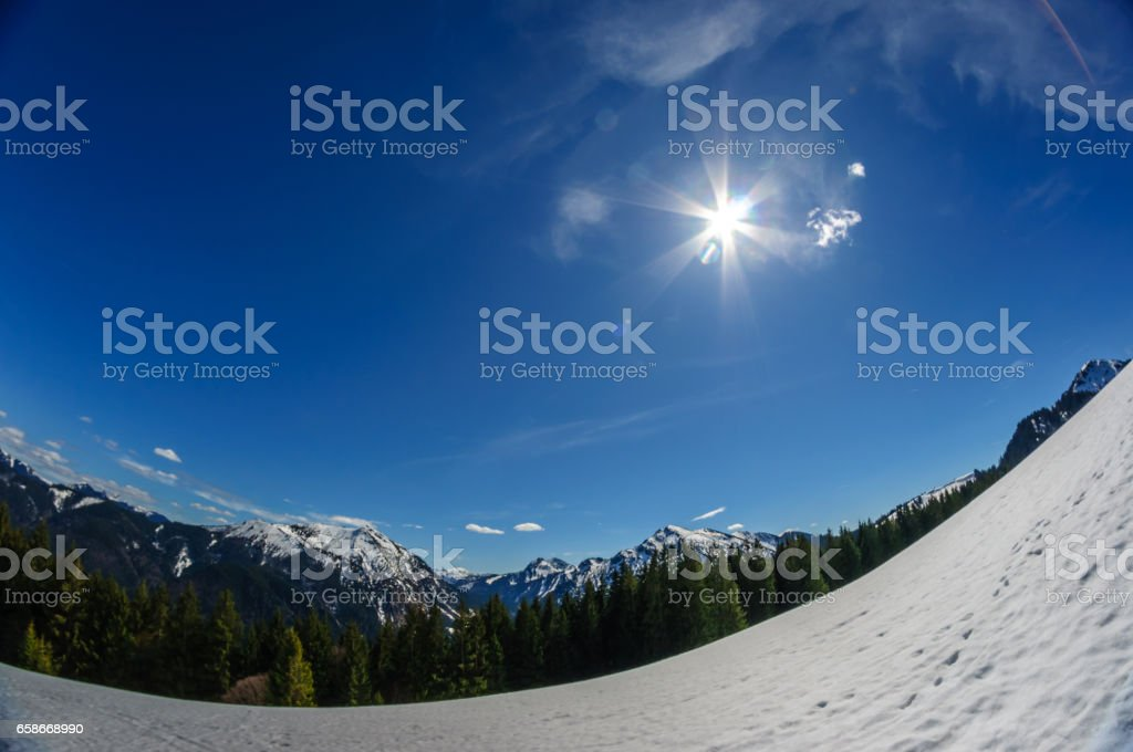 View on winter landscape in the bavarina mountain stock photo