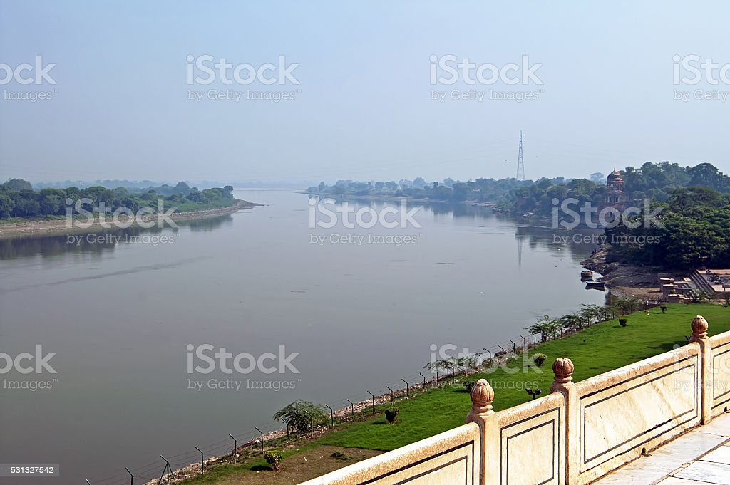 View on Yamuna River from Taj Mahal in Agra. India stock photo