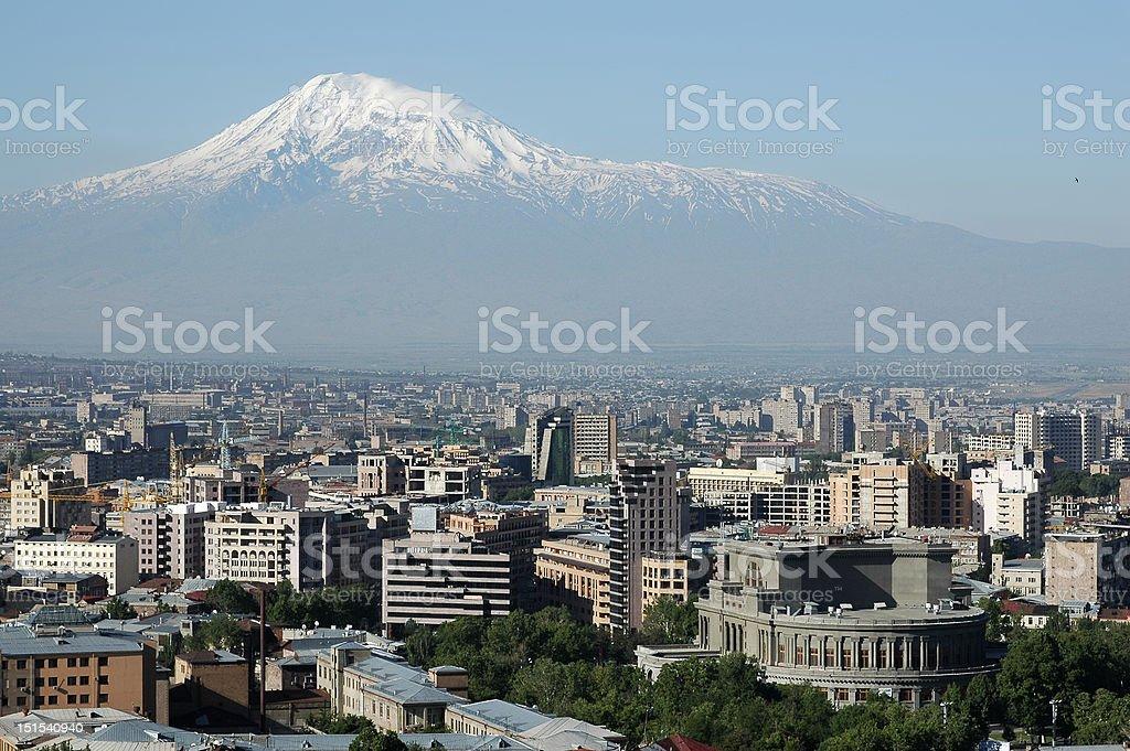 View on Yerevan city center and Mt.Ararat stock photo