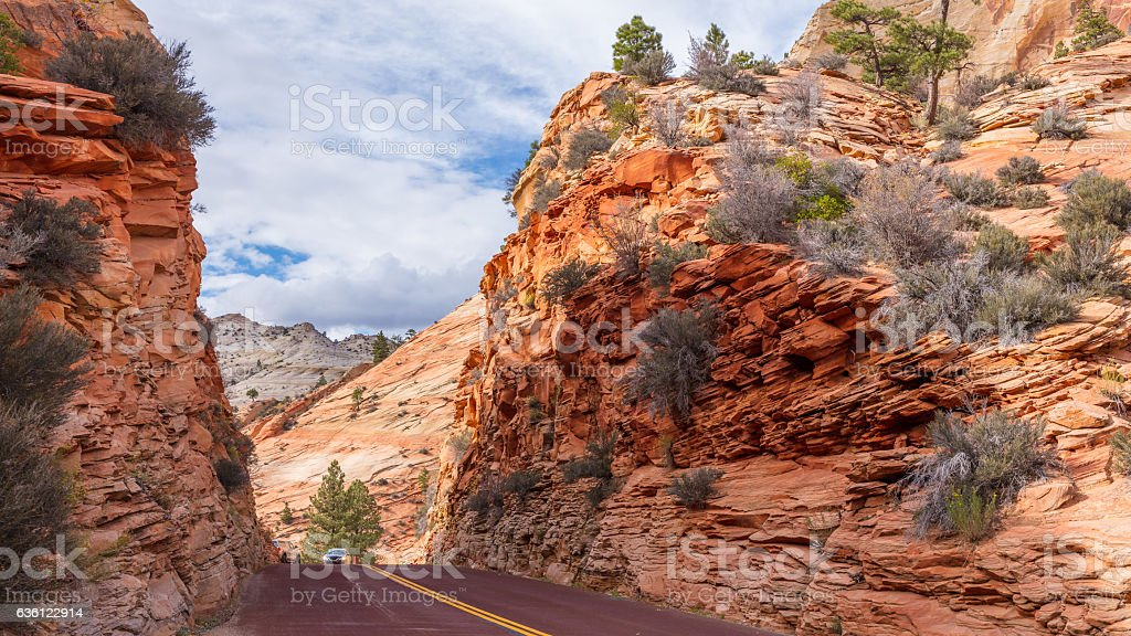 View on Zion-Mount Carmel Highway in Zion National Park stock photo