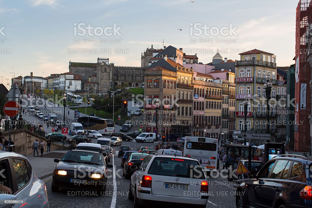 View one of the streets in historical centre of Porto stock photo
