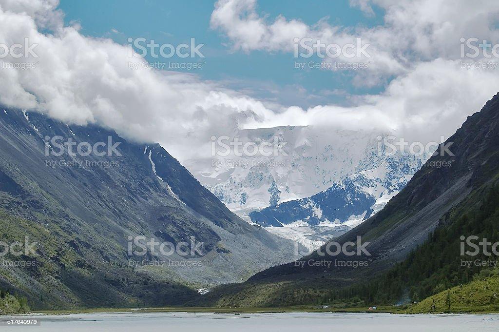 View onto Belukha  the highest peak of Altai stock photo