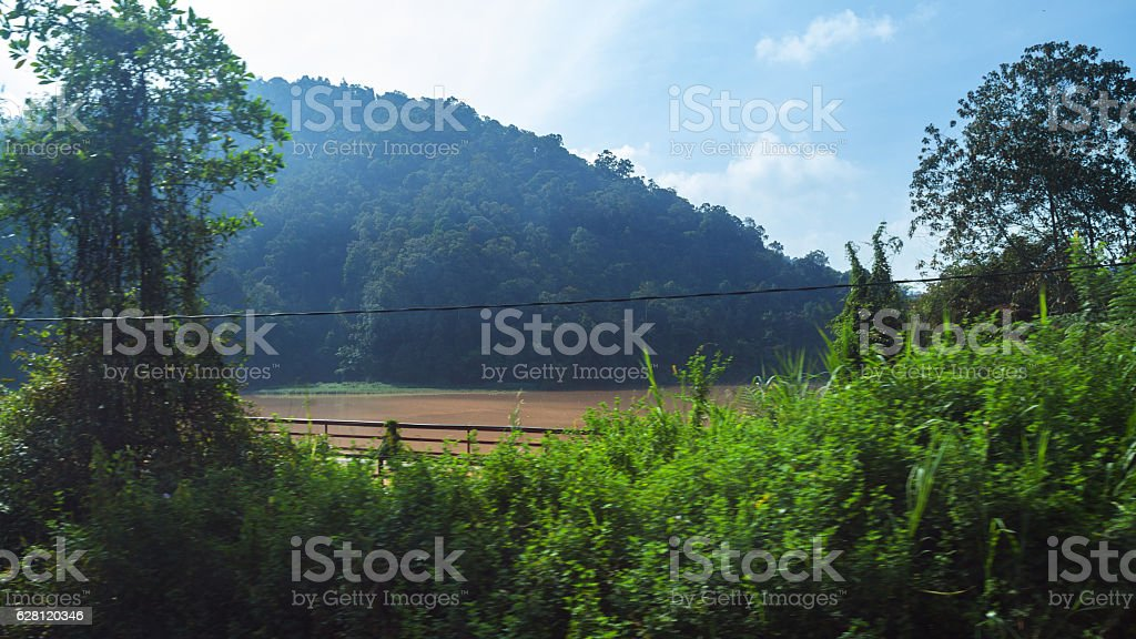 View onto lake Ringlet from passing bus stock photo