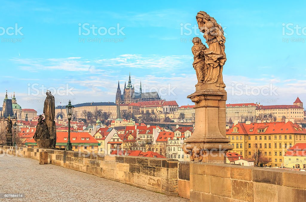 View onto Prague Castle from Charles Bridge stock photo