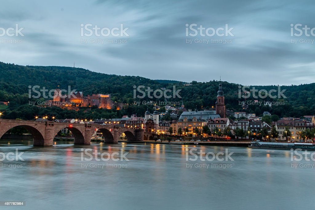 View onto the Old Town of Heidelberg stock photo