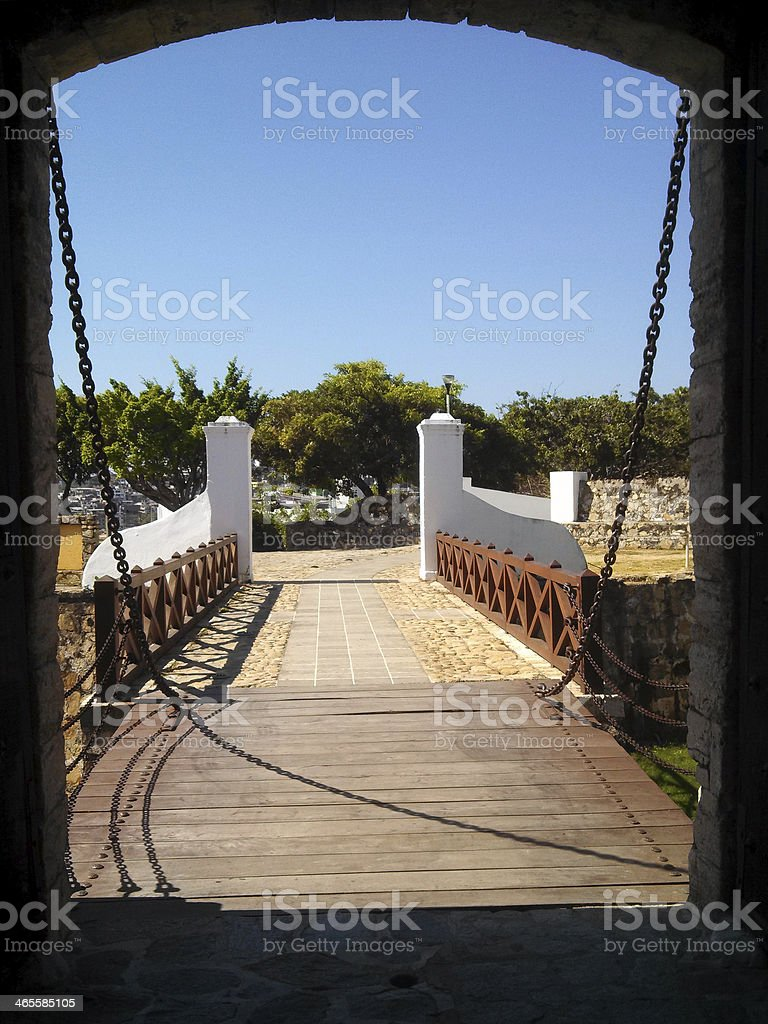 View out drawbridge of Fort San Diego Acapulco Mexico stock photo