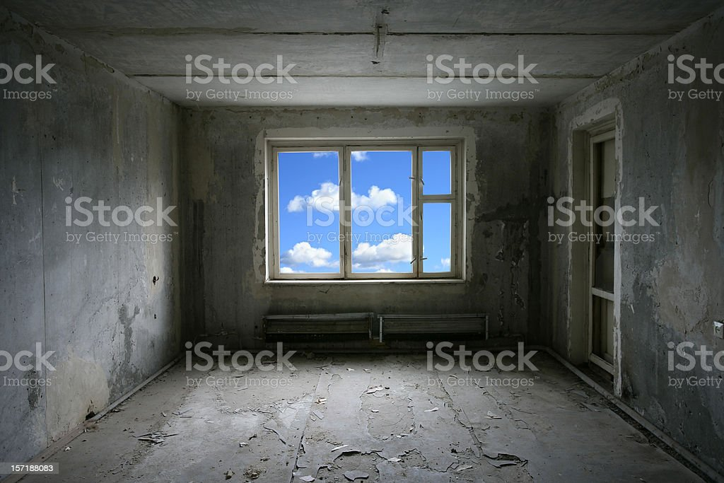 View out of window from abandoned room stock photo