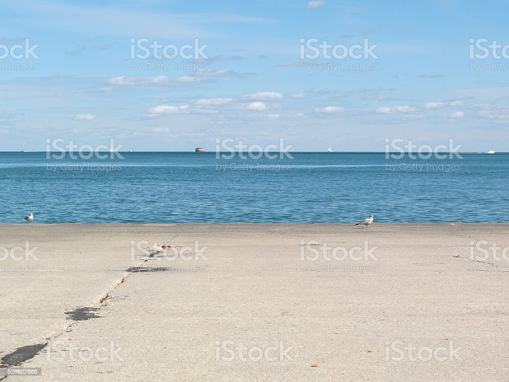 View out over Lake Michigan stock photo