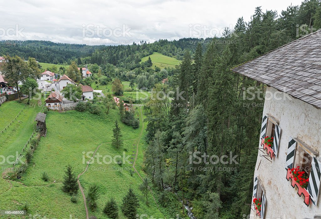 View out the window of Predjama Castle, Slovenia stock photo