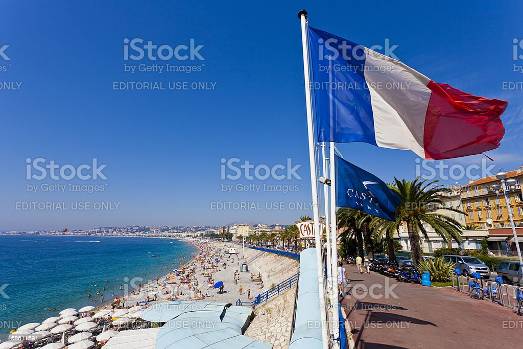 View over a beach in Nice, France stock photo