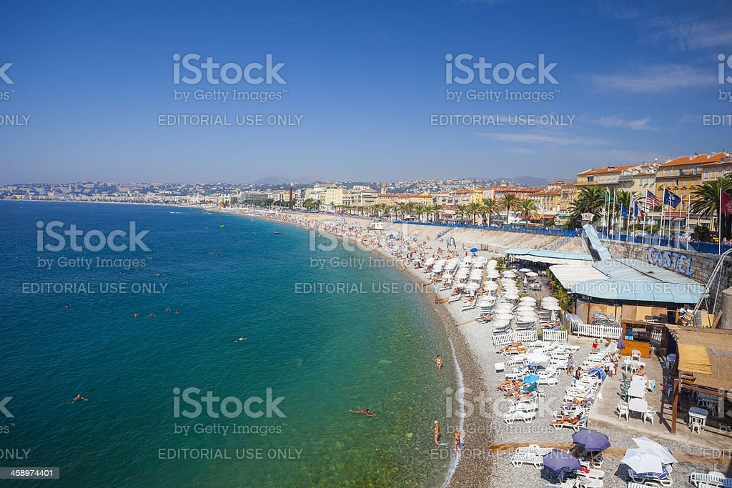 View over a beach in Nice, France royalty-free stock photo