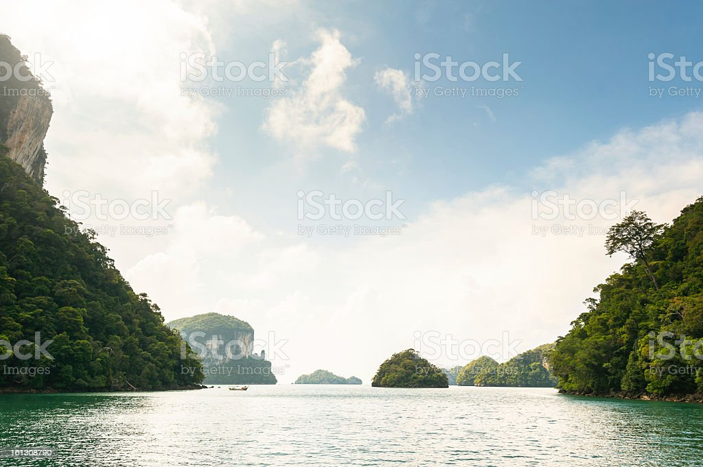 View over a beautiful natural bay in Malaysia stock photo