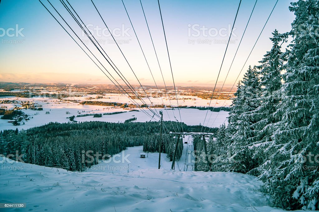 View over a closed ski resort stock photo