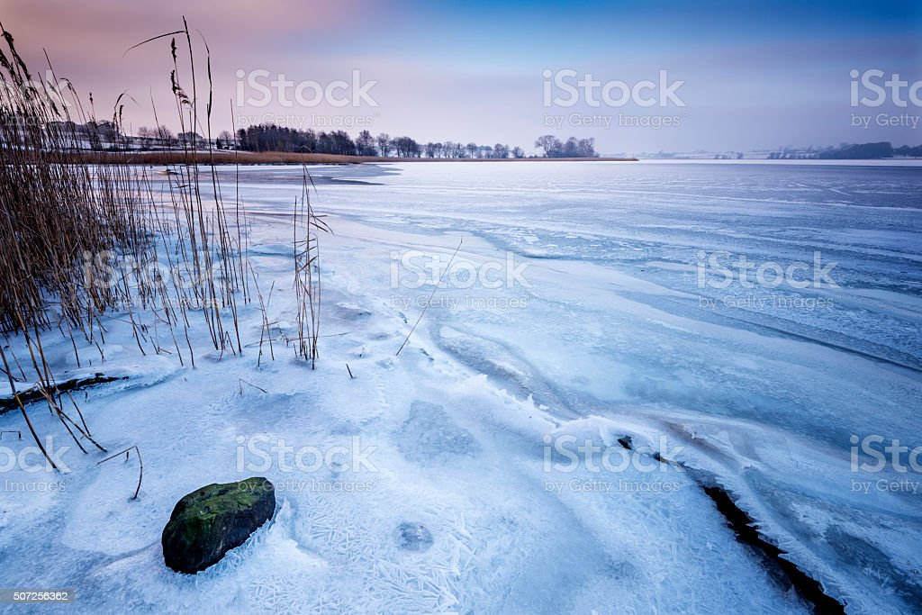 View Over a Frozen Stege Nor in Denmark stock photo