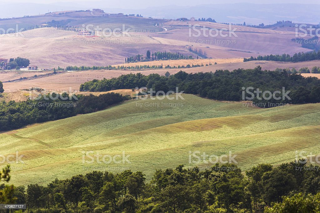 View over agricultural landscape stock photo
