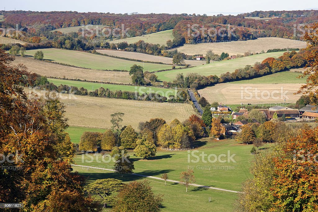 View over an autumn landscape in Oxfordshire, England stock photo