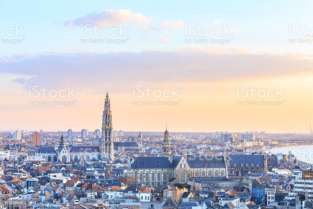 View over Antwerp with cathedral of our lady taken stock photo