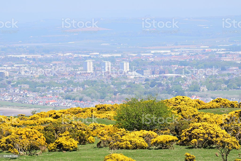 View over Ayr from Carrick Hill stock photo