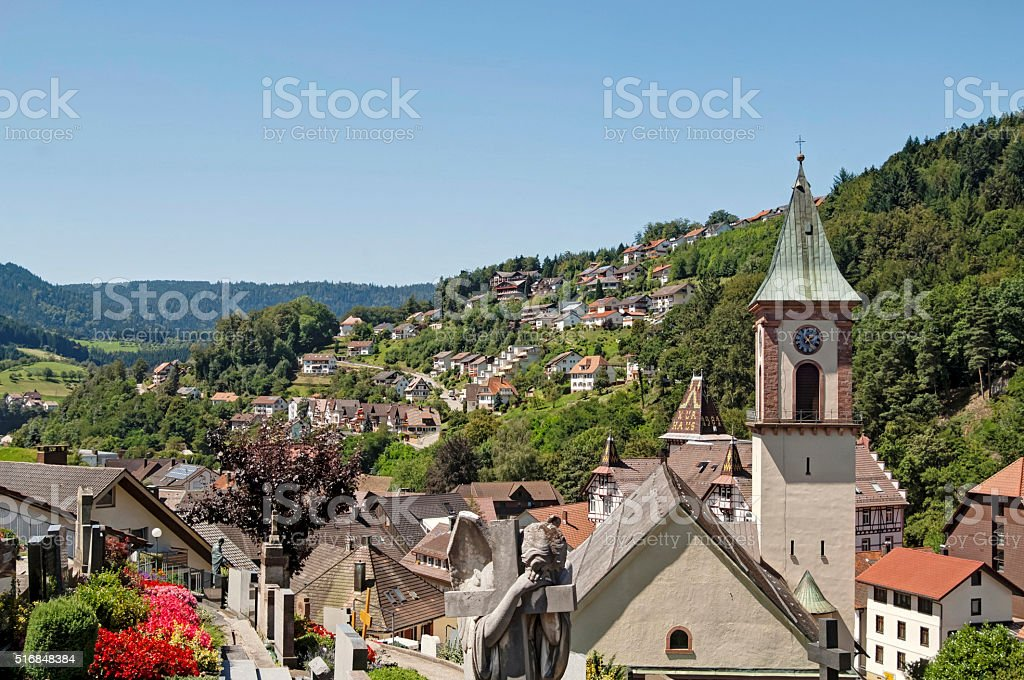 View over Bad Peterstal in the Black Forest stock photo