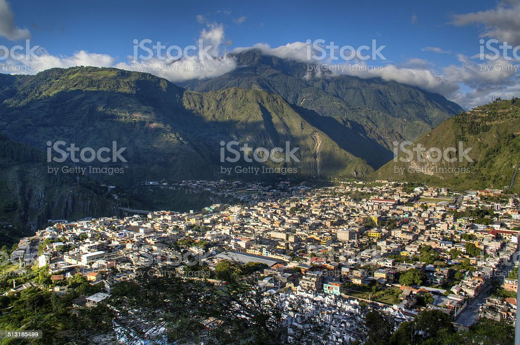 View over Banos stock photo