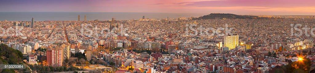 View over Barcelona at sundown stock photo