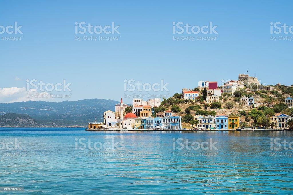 View over bay of Kastelorizo island coast, Dodecanese, Greece stock photo