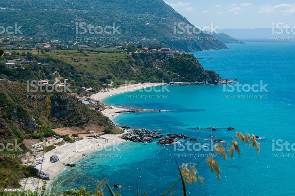 View over beautiful coast of calabria fronting the blue mediterranean stock photo