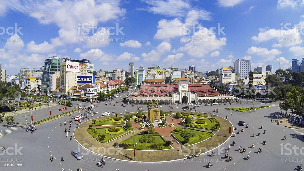 View over Ben Thanh Market in central Saigon stock photo