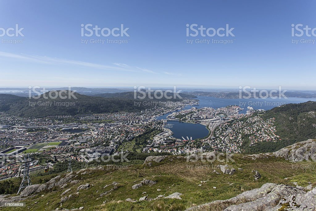 View over Bergen royalty-free stock photo