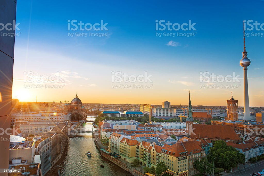 view over berlin with cathedral and television tower at sunset stock photo